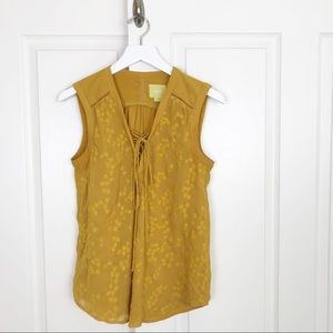 Anthropologie Maeve Embroidered Floral Mustard Top